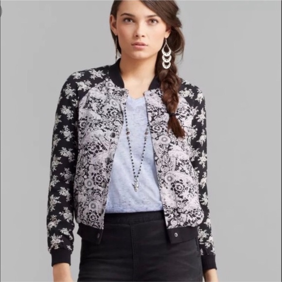 Free People Jackets & Blazers - Free People Floral Patterned Bomber Jacket